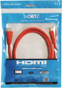 HDMI Hi-Speed Kabel with Ethernet - 2.0m - ORANGE