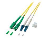 LWL Duplex Jumper LC-SC/APC 9/125µ, OS2, LSZH, gelb, 15m