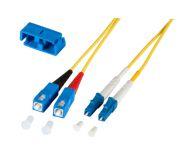 LWL Duplex Jumper LC-SC 9/125µ, OS2, LSZH, gelb, 10m, Singlemode