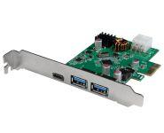 Schnittstellenkarte PCIe USB 3.2 Gen2, 1x USB-C, 2x USB-A, 5Gbit, PD max 30W