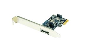 Schnittstellenkarte PCIe S-ATA II/300, 1x SATA, 1x eSATA