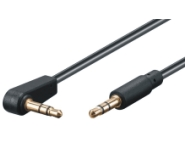 3,5mm audio connection cable AUX, CU, 3pin stereo, m/m, 0.5m, bk, 90° angled