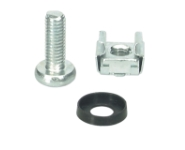CAGE NUTS SET 50 x M6, steel zinc-coated, captive nut, washer plastic, screw