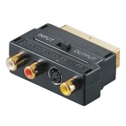 SCART /St zu 3x RCA - S-Video /Bu Adapter, gold, IN/OUT