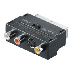 SCART /St zu 3x RCA - S-Video /Bu Adapter, IN/OUT