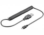 Micro USB 2.0 Lade- u. Sync Spiralkabel, 1m, schwarz