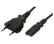1.8M Power Cord Euro 8 plug to IEC 320-C7 2 pin, 2 x 0.75mm², black