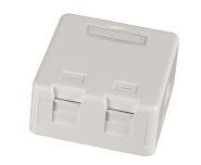 Keystone Gehäuse, 2 Port, Aufputz, weiß, Staubschutz, selbstschließend