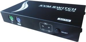 KVM VGA, 2 PCs / 1 Mon-Tas-Maus, autom., PS/2, Metall