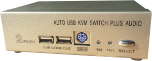 KVM VGA, 2 PCs / 1 Mon-Tas-Maus-Audio, USB2.0, Metall