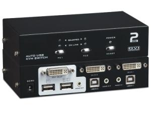 KVM DVI, 2 PCs/1 Mon-Tas-Maus-Audio, USB2.0, inkl. Kabel-Satz