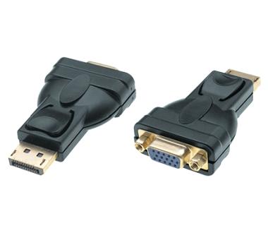 DisplayPort 1.2 zu VGA 15p Adapter, 1080p Full HD, St/Bu, schwarz, passiv