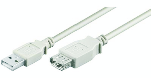 USB 2.0 Verlängerungskabel - A/A - Stecker/Buchse, grau, 3.00m