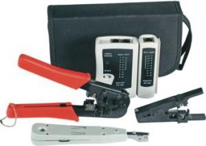 Werkzeugset Netzwerktechnik 4-teilig, mit Tasche