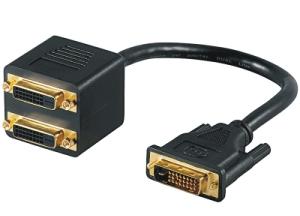 DVI Y-Kabel, DVI-D 24+1 > 2x DVI-D, 0,2m, schwarz