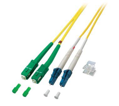 LWL Duplex Jumper LC-SC/APC 9/125µ, OS2, LSZH, gelb, 2m, singlemode
