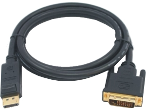 DisplayPort zu DVI-D 24+1 Kabel, St/St, 2m, schwarz, Full HD, Gold