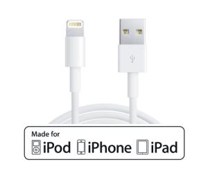 USB 2.0 Sync- u. Ladekabel, MFI Lightning, 1m, weiß