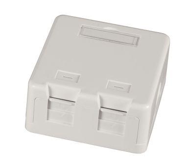 Keystone Gehäuse AP 2-Port, weiß, Staubschutz, selbstschließend