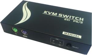 KVM VGA, 2 PCs / 1 Mon-Tas-Maus, PS/2, Metall