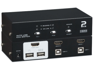 KVM HDMI, 2 PCs/1 Mon-Tas-Maus-Audio, USB2.0, inkl. Kabel-Satz