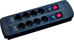 Steckdosenleiste Doppelpass 2x4, USB, 2 Schalter, 2.0m, bk