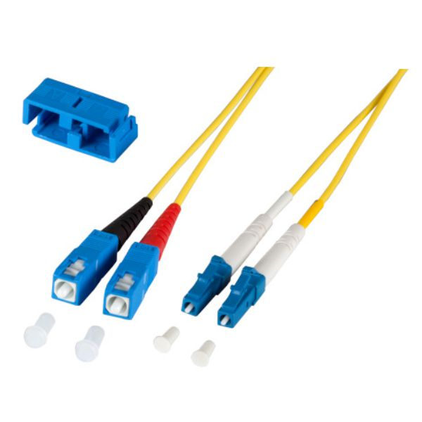 LWL Duplex Jumper LC-SC 9/125µ, OS2, LSZH, gelb, 2m, Singlemode
