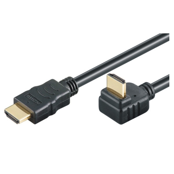 HDMI Hi-Speed Kabel w/E - 90° - 4K/60Hz - 2.0m - schwarz